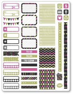 Rose vert fonctionnel Kit Planner Stickers pour Erin Condren