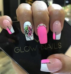 Untitled in 2020 Glow Nails, Red Nails, Spring Nails, Summer Nails, Coffin Nails, Acrylic Nails, Hello Nails, Nicole By Opi, Red Nail Designs
