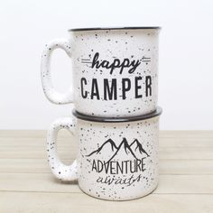 Get your favorite Happy Camper & Adventure Awaits mugs now in white mugs Font Combos, Kitchen Dinning Room, Hand Painted Mugs, Pottery Painting, Happy Campers, House Painting, Diy And Crafts, Coffee Mugs, My Etsy Shop