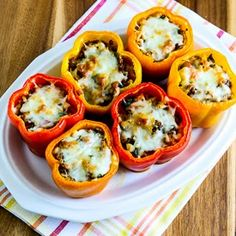 Low-Carb Cauliflower Rice Southwestern Stuffed Peppers with Turkey and Poblanos (Gluten-Free) [from KalynsKitchen.com]