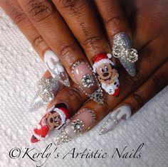 Mickey and Minnie Mouse Christmas by KerlysNails - Nail Art Gallery nailartgallery.nailsmag.com by Nails Magazine www.nailsmag.com #nailart