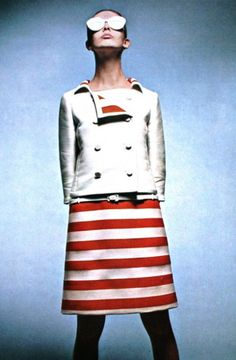 more stripes - Ina Balka, Elegance (Dutch), May 1965. Buy original, one-of-a-kind #Courreges pieces exclusively at ahalife.com