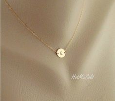 Monogram Necklace, GOLD Initial Disc Charm Necklace, Birthday, Bridesmaid Gifts, Mother's Jewelry, Child, Family, Personalized jewelry. $28.00, via Etsy.