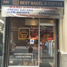 """Best Bagel and Coffee - New York, NY, United States. Outside view with that """"A"""" cleanness posted on the front window. Bagels Nyc, Best Bagels, Weekend In Nyc, West New York, Coffee Photos, Places Ive Been, Favorite Recipes, Drinks, Road Trips"""