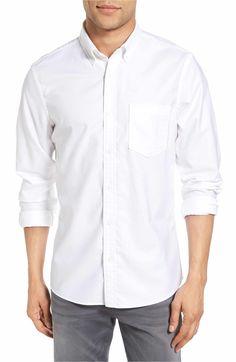 Main Image - Nordstrom Men's Shop Trim Fit Washed Oxford Shirt