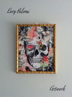 Original decoupage artwork reproduced skull by Lorypalomi on Etsy