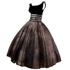 Vintage 1950's Black Organza Burn Out Velvet Party Dress | 1stdibs.com
