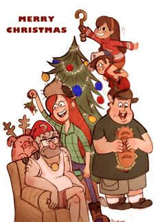 Merry Christmas from Dipper, Mabel, Soos, Wendy, and Grunkle Stan!