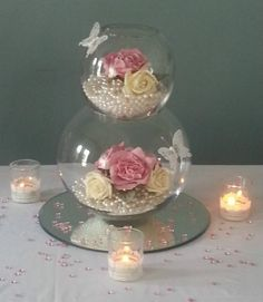 Gorgeous centrepieces to hire to make your tables look stunning. www.sapphirepersonalisedevents.co.uk