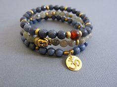 Vermeil OM bracelet Jade Labradorite Sodalite Beaded by Lotus411, $64.00