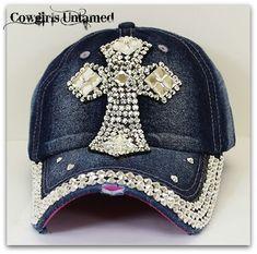 COWGIRL STYLE Rhinestone Cross on Denim Jean Western Cap COWGIRLS UNTAMED ~Fashion for Your Cowgirl Gypsy Rebel Soul  www.cowgirlsuntamed.com