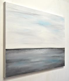 22df94affa0 Large original landscape painting oil painting white gray abstract art  large seascape wall art home