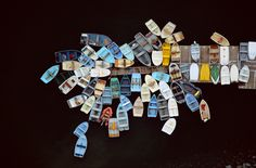 Dinghies clustered around dock, Duxbury, Massachusetts, USA, 1993. | 22 Stunning Aerial Photos That Reveal A Beauty From Above