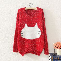 Ladies Cute Cat Whiskers pullover Sweater