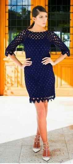 crochelinhasagulhas: Vestido azul marinho de crochê