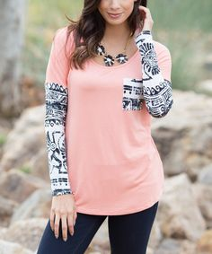 Look at this Peach & Black Tribal-Contrast Top on #zulily today!