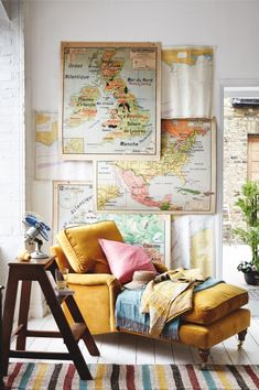 A realm of curiosities and intrigue, antique maps and globes are a hot topic and can create an exciting eclectic wanderlust room. eclectic home decor How to decorate with antique maps and globes Vintage Home Decor, Diy Home Decor, Vintage Travel Decor, Vintage Kitchen, Yellow Home Decor, Yellow Interior, Simple Interior, Vintage Room, Yellow Armchair