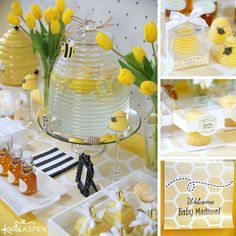 """9 Themes for a Gender Reveal Party This gender reveal party idea is sweet as can bee! A sunny yellow """"what will it bee"""" gender reveal party is sure to bring smiles to everyone's faces. Gender Reveal Themes, Bee Gender Reveal, Gender Reveal Party Decorations, Baby Gender Reveal Party, 21 Party, Gender Party, Bee Theme, Invitation, Baby Kind"""