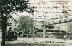 """Historische Ansichtskarte / vintage picture postcard. Adlerbrücke mit Schwebebahnstation und Straßenbahn / """"Adlerbrücke"""" (""""Eagle's bridge"""") with suspension monorail station and streetcar"""