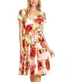 White & Red Floral V-Neck Dress