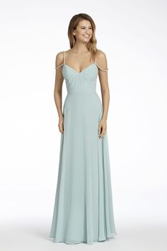 Style 5700 Hayley Paige Occasions bridesmaids dress - Ice Blue chiffon A-line bridesmaid gown, scoop draped bodice, natural waist, circular skirt, Alabaster beaded trim straps. Jim Hjelm Wedding Dresses, Spring Bridesmaid Dresses, Sexy Wedding Dresses, Cheap Wedding Dress, Designer Wedding Dresses, Bridesmaids, Wedding Gowns, Lace Wedding, Ball Dresses