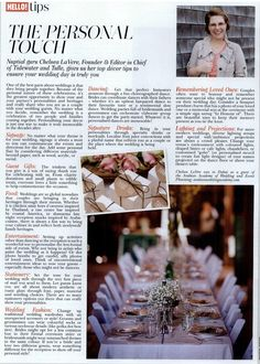 """""""Personalize Your Wedding"""" in Hello! ME Magazine, September 2017 My Magazine, First Love, September, Wedding Day, Tulle, Table Decorations, Pi Day Wedding, Wedding Anniversary, Tutu"""