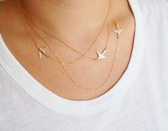 Fliegende Vögel Halskette drei geschichteten von MarianaEJewelry