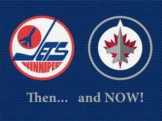 Winnipeg Jets - two eras Nhl Jets, Jets Hockey, Hockey Logos, Ice Hockey Teams, Nfl Football Teams, Sports Humor, Sports Logo, Nhl Players, National Hockey League