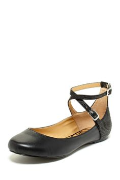 Jinnie Strappy Flat in black by Kelsi Dagger $99 - $48 at HauteLook. - Round toe - Solid construction with contrast heel - Side ankle buckle closure Leather upper, manmade sole