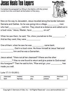 Jesus Heals Ten Lepers - Cloze Puzzle