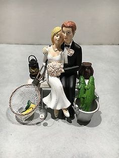 Got the Pole No FISHING Funny Wedding Cake Topper w Boat Bride