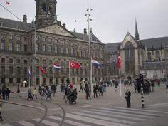 Turkish president Abdullah Gül is visiting, and in true presidential style, is posted up at the Royal Palace at Dam Square. Baller.