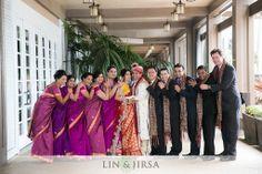 Colorful Indian bridal party. Image courtesy of Lin and Jirsa Photography. Discover more Indian Bridal Party inspiration at www.shaadibelles.com #weddings #southasian #shaadibelles #bridemaids #grooms
