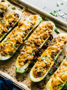 Stuffed Zucchini Boats with Ground Turkey Stuffed Zucchini Boats with a ground turkey filling. Turkey simmered with salsa, Mexican inspired seasoning, and black beans, topped with melted cheese! - Stuffed Zucchini Boats with Ground Turkey - Dad With A Pan Zucchini Boat Recipes, Healthy Turkey Recipes, Meat Recipes, Dinner Recipes, Cooking Recipes, Dinner Ideas, Turkey Meals, Healthy Zucchini, Dinner Options