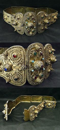 Caucasian silver gilt/gold plate belt.  For women.  Probably Dagestani, late 19th century.