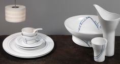 Contemporary blue and white porcelain tableware from Hering Berlin | Harlequin London #porcelain #contemporary #blue #white