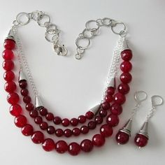 Raspberry agate gemstone triple strand beaded necklace and beaded earrings silver chain
