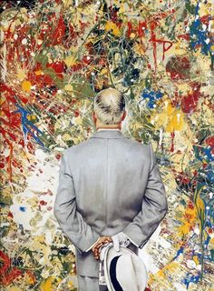 Rockwell, Norman  The Connoisseur  1962  The Saturday Evening Post, January 13, 1962 (cover)  Oil on canvas mounted on board  37 3/4 x 31 1/2 in.  Private collection