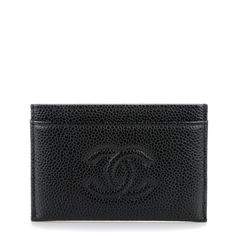 CHANEL Caviar Timeless CC Card Holder in Black