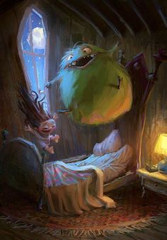 Here's a fun Halloween themed illustration created by CGHUB artist aamirart . It features a little girl and a monster having a little rowdy slumber party. The artist says the CG art is based on the Marco Bucci illustration which I've included below. Art And Illustration, Friends Illustration, Monster Illustration, Book Illustrations, Fantasy Kunst, Fantasy Art, Character Concept, Concept Art, 3d Character