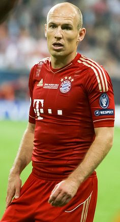 Arjen Robben  is a Dutch professional footballer who plays for German Bundesliga club Bayern Munich and the Netherlands national team. Robben has appeared at the 2004, 2008 and 2012 UEFA European Championships, and the 2006, 2010 and 2014 FIFA World Cups. He is a forward who usually plays as a left or right sided winger. Robben is known for his dribbling skills, speed, crossing ability and his accurate left foot long-range shots from the right wing.