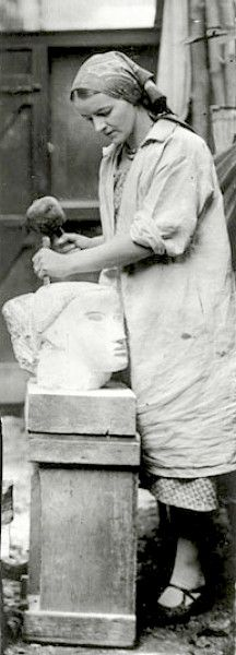 Barbara Hepworth (British, 1903 – 1975), carving Head, 1930...And I've been to her studio in Cornwall!