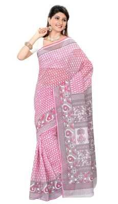 Fashionable Pink Colored Printed Blended Cotton Saree Cotton Sarees on Shimply.com