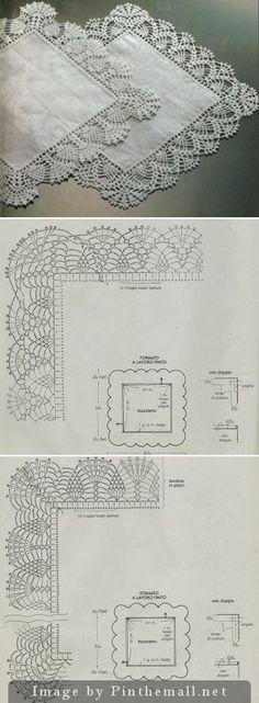 Delicate lace edgings for hankies ~~ http://professione-donna.blogspot.it/2013/06/lavori-con-luncinetto-delicati-bordi.html