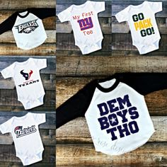 Newly added football onesies, t-shirts, and raglans!!! Get yours today!🏈🏈