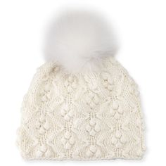 Il Borgo Patterned Cashmere Pompom Beanie Hat (1.340 RON) ❤ liked on Polyvore featuring accessories, hats, white, fitted hats, beanie cap, cashmere beanie hats, pom pom beanie and cashmere pom pom hat