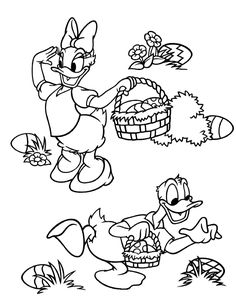 Cute Easter colouring picture showing Daisy Duck and Donald Duck hunting Easter eggs - click on the easter colouring pictur e and it will ...