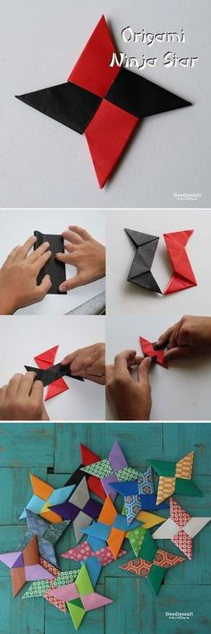 Paper folding Ninja Stars is such a fun activity for kids! You will need 2 sheets of Origami Paper Or 2 squares of lightweight… Origami Paper Folding, Origami And Kirigami, Origami Butterfly, Origami Flowers, Origami Art, Origami Bookmark, Oragami, Easy Origami, Diy Paper
