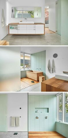 in this bathroom custom cabinets and the japanese soaking tub have both been made using western red cedar pastel green tiles and frosted glass makes the