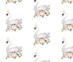 Swan with Roses in White fabric by shopcabin on Spoonflower - custom fabric